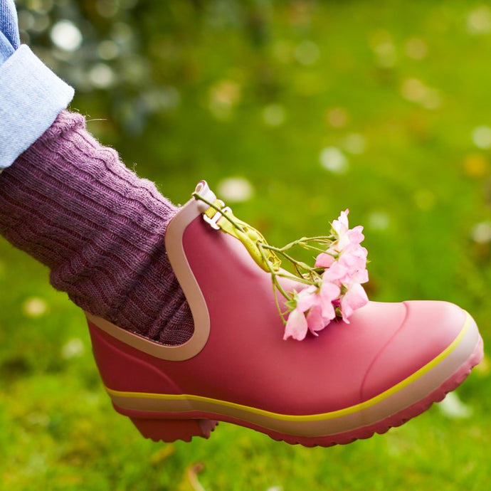 gardening shoe in pink with flowers and alpaca short boot sock in damson colour