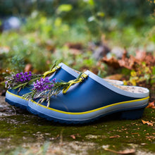 Load image into Gallery viewer, garden clog in blue with flowers