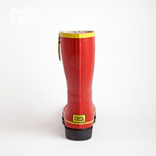 Load image into Gallery viewer, short welly in red heel back view