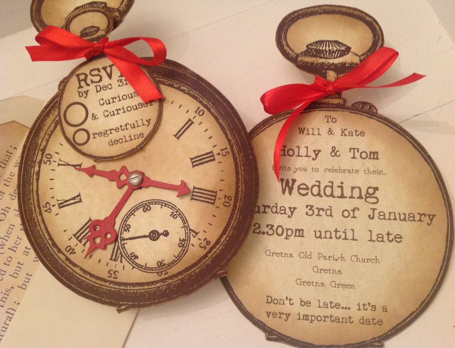 alice in wonderland steampunk vintage style shabby chic party wedding invitations - Steampunk Wedding Invitations