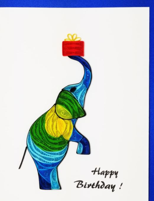 Iconic Quilling Cards  5 x 7 - 511 Birthday Elephant