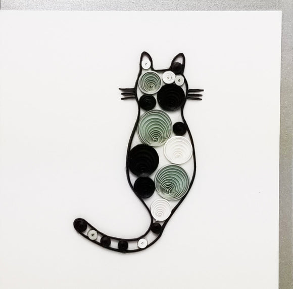 Iconic Quilling Cards  4 x 4 - 52 Gray Cat