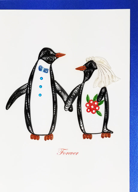 Iconic Quilling Cards 5x7 - 603 Penguin Wedding