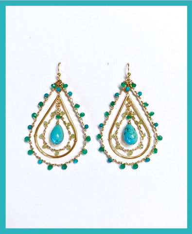Orphee Earrings Gold/Turquoise