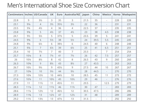Womens Size  Shoe Coversion