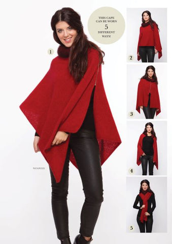 Fur Trim Zip Poncho