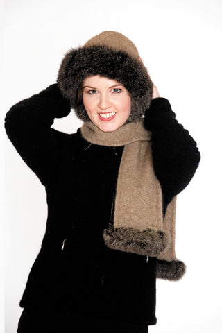 Possumsilk Fur Trim Hat & Scarf