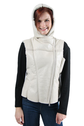 Kate - Womens Sheepskin Hooded Vest