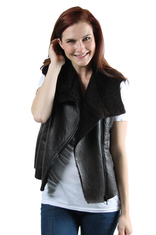 Kate - Womens Sheepskin Collared Vest