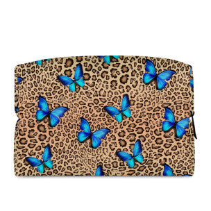 LEOPARD & BUTTERFLY - LARGE COSMETIC BAG - Electric Styles