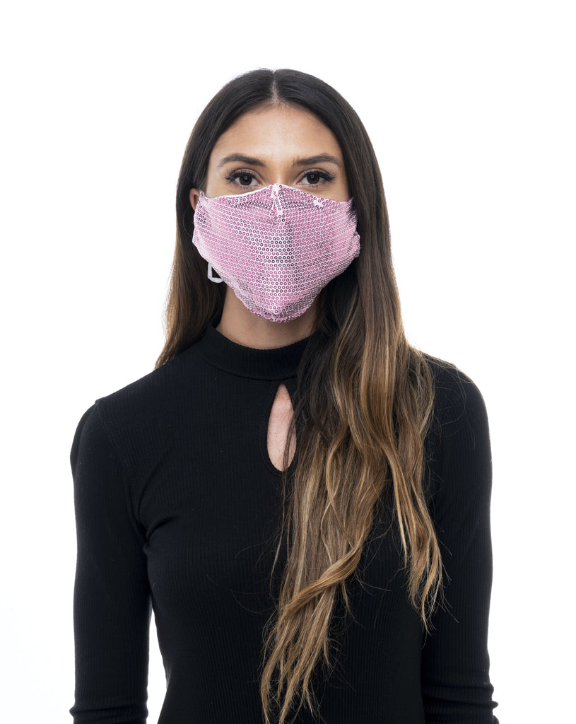 PINK SEQUIN FABRIC MASK - Electric Styles