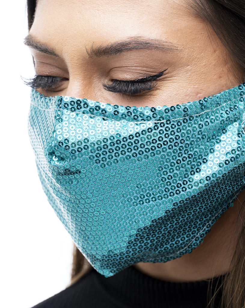 TEAL SEQUIN FABRIC MASK - Electric Styles