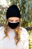 BLACK - ADULT 2-PIECE WINTER MASK & BEANIE SET - Electric Styles
