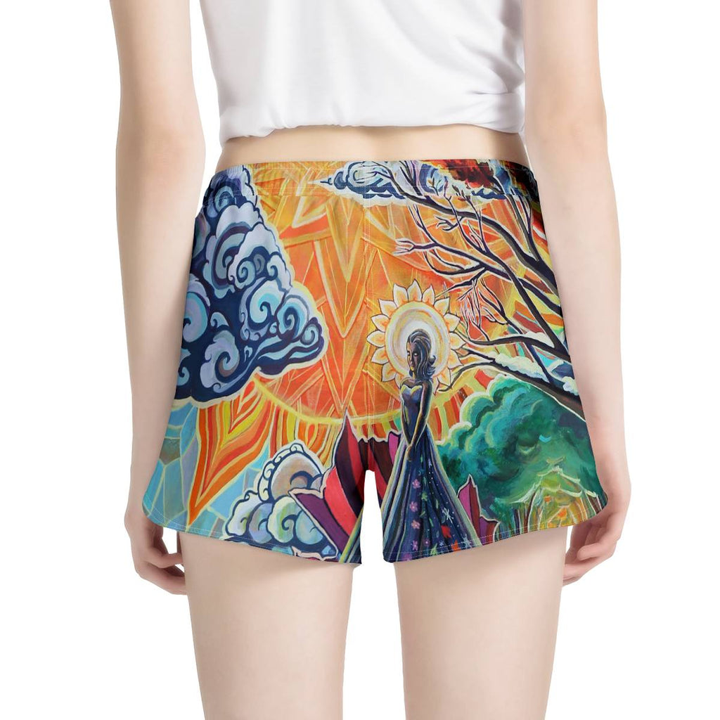 Mother Earth by Joness Jones - Women's All Over Print Casual Shorts - Electric Styles