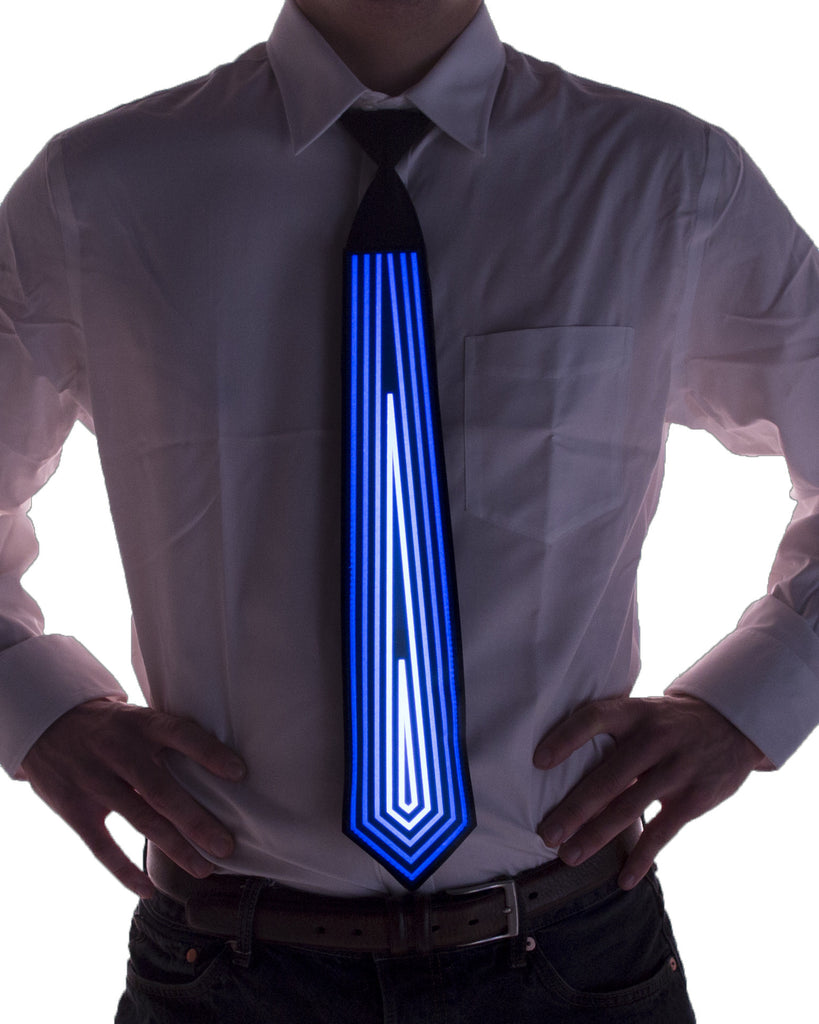 Blue diamond light up LED necktie