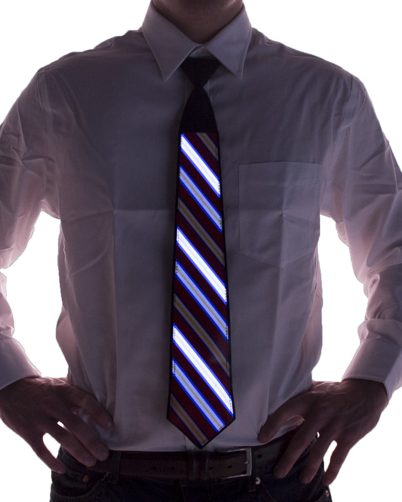Striped Sound Activated Light Up Tie - Electric Styles