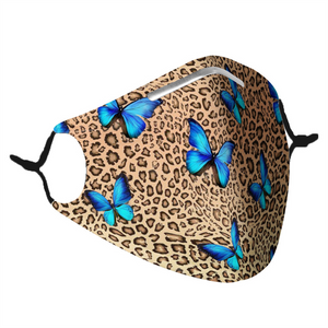 LEOPARD & BUTTERFLY -  MASK WITH (4) PM 2.5 CARBON FILTERS - Electric Styles