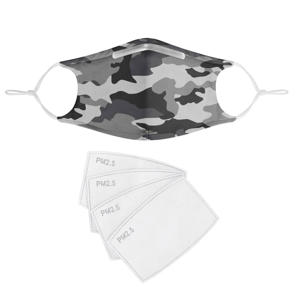 GRAY CAMO -  MASK WITH (4) PM 2.5 CARBON FILTERS - Electric Styles