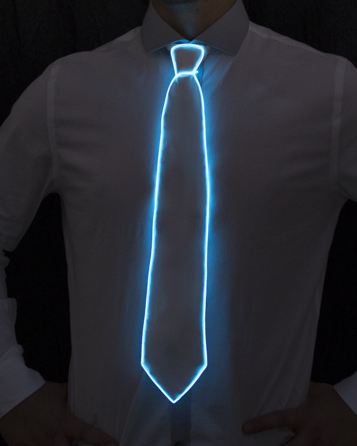 White Light Up Tie - Electric Styles | World's Number 1 Light Up Shoe Store - {product_type}} - Aqua - 3