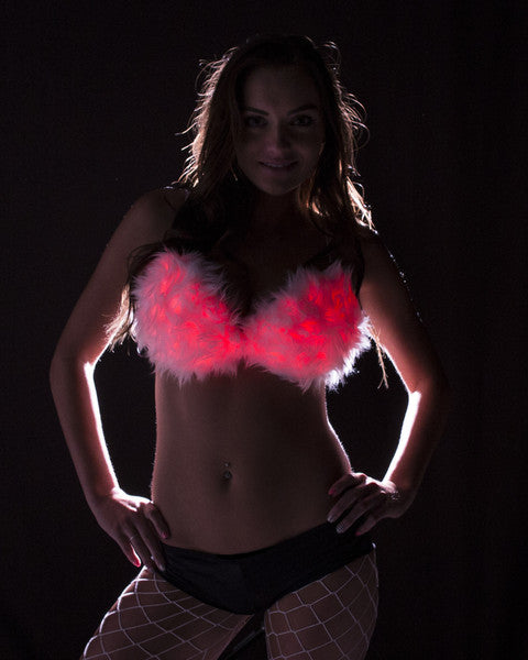 Light Up Fur Bra - Color Changing - Electric Styles | World's Number 1 Light Up Shoe Store - {product_type}} - 32B / White - 1