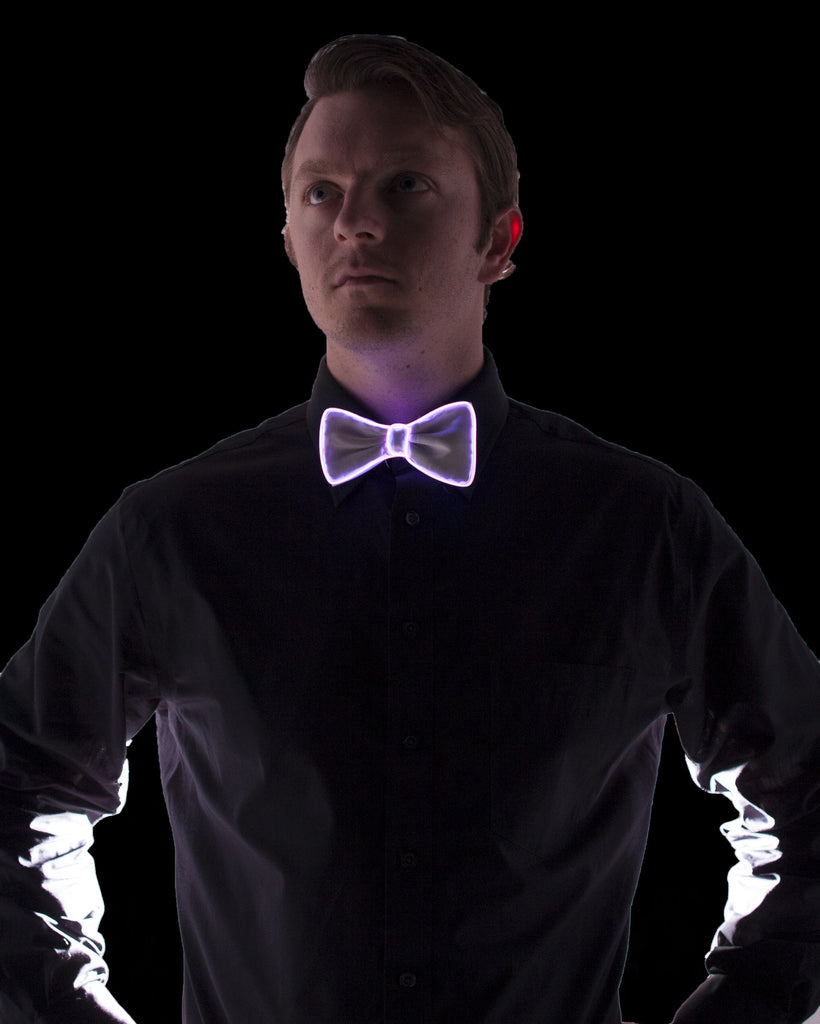 White Light Up Bow Tie - Electric Styles