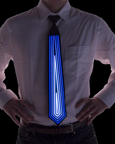 Blue Diamond Sound Activated Light Up Tie - Electric Styles | World's Number 1 Light Up Shoe Store - {product_type}} - Blue Diamond Sound Activated Light Up Tie / Black - 2