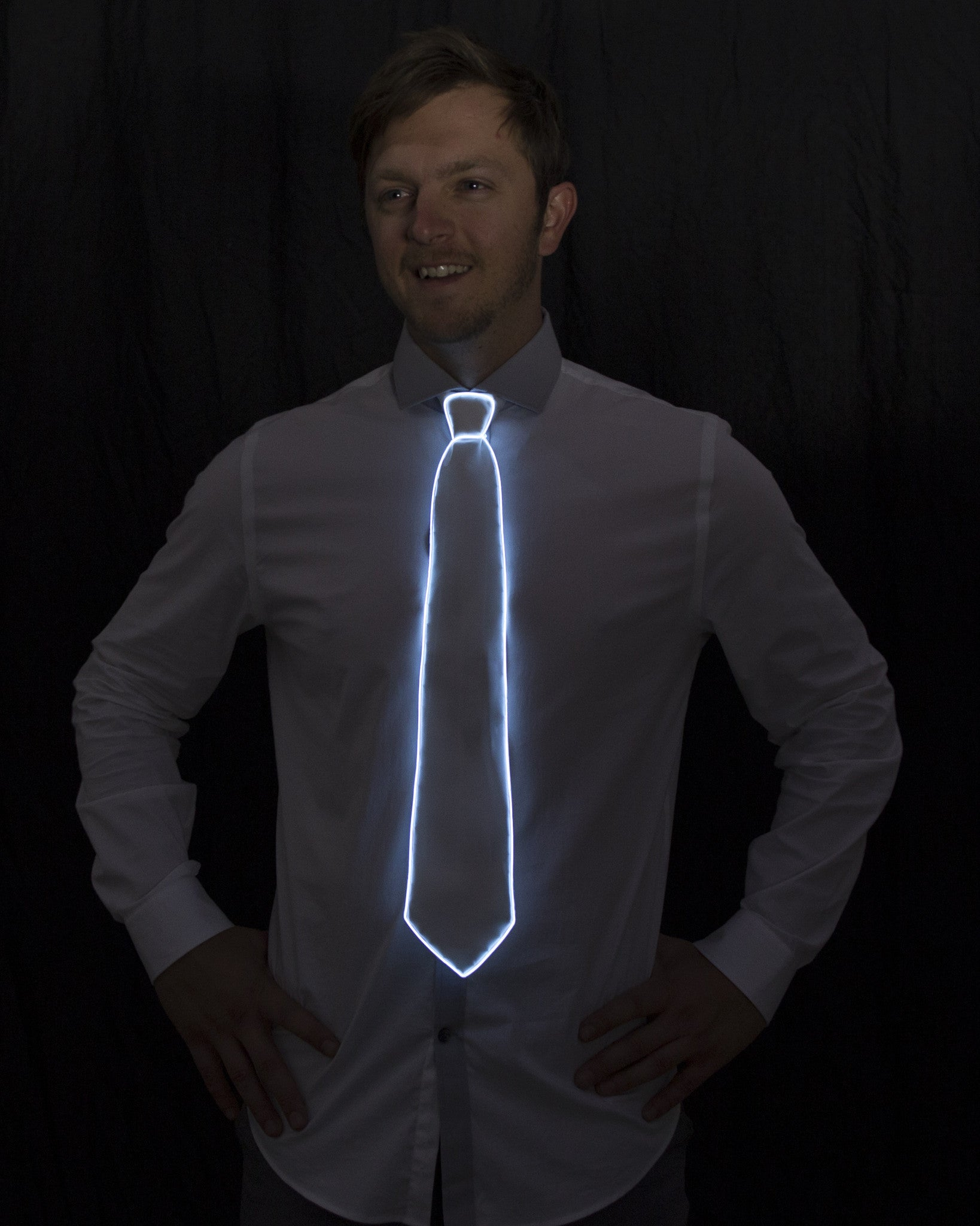 White Light Up Tie - Electric Styles | World's Number 1 Light Up Shoe Store - {product_type}} -  - 4