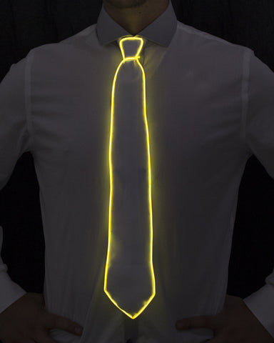 White Light Up Tie - Electric Styles | World's Number 1 Light Up Shoe Store - {product_type}} - Yellow - 1