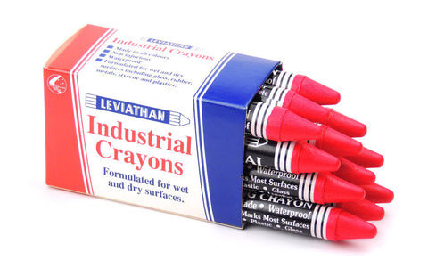 Industrial Marking Crayons Fluorescent Red Packet of 12 Crayons