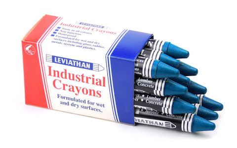Industrial Marking Crayons Fluorescent Blue Packet of 12 Crayons