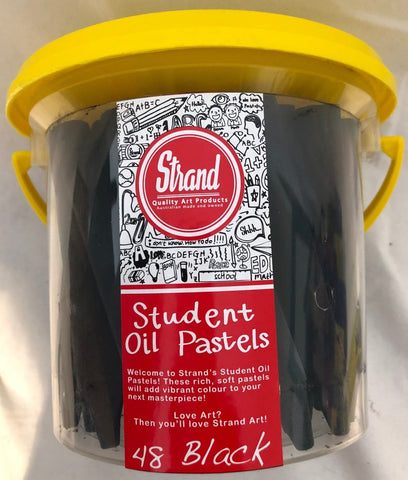 Strand Basic Oil Pastels 48's resealable bucket Black or White