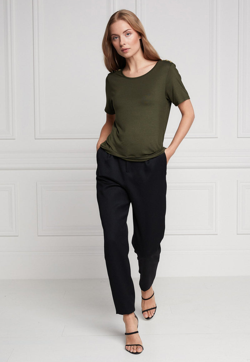 Holland Cooper - Relaxed Fit Crew Neck Tee - Khaki