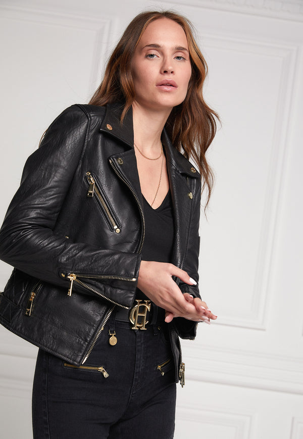 Holland Cooper - Leather Biker Jacket - Black - angel-divine
