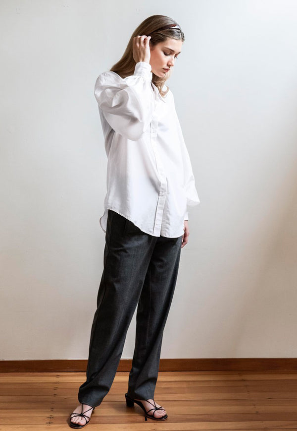 Mahsa - Billow Sleeve Shirt - White - angel-divine