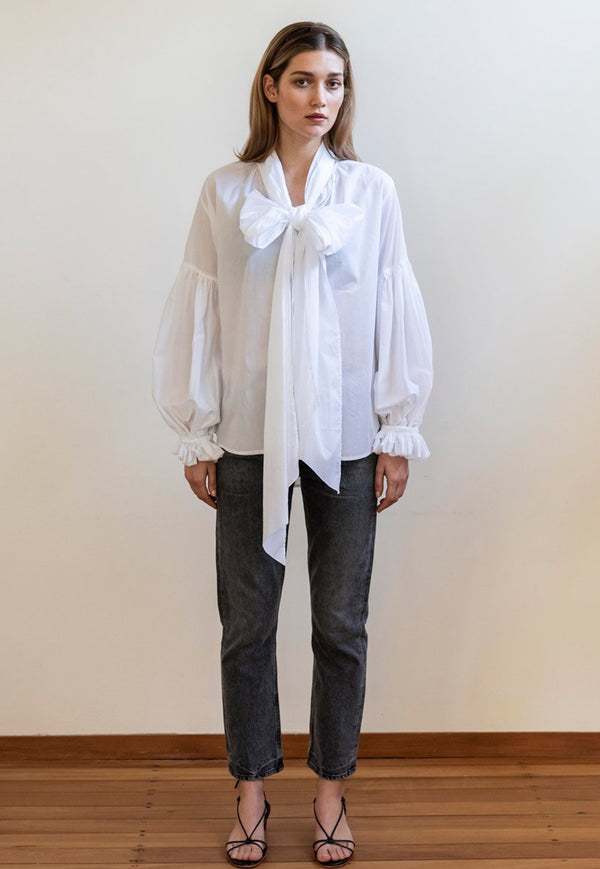 Mahsa - Bow Blouse - White - angel-divine