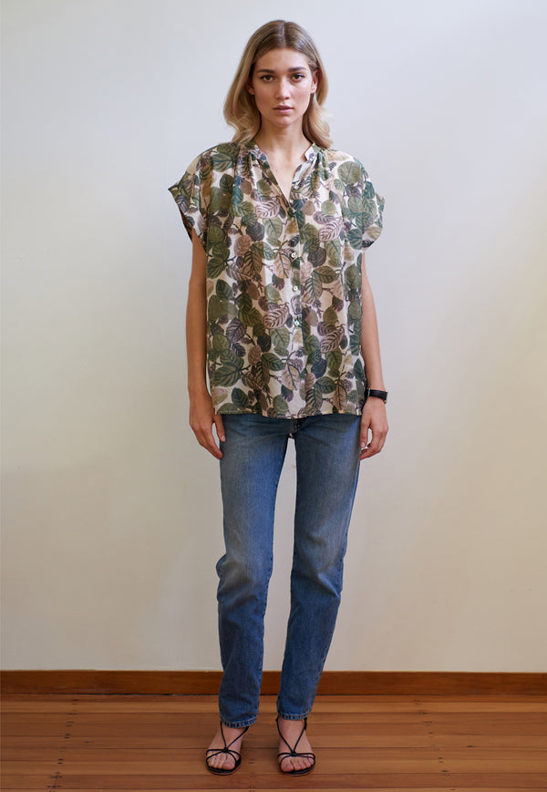 Mahsa - Short Sleeve Everyday Blouse - Leaf Print - angel-divine
