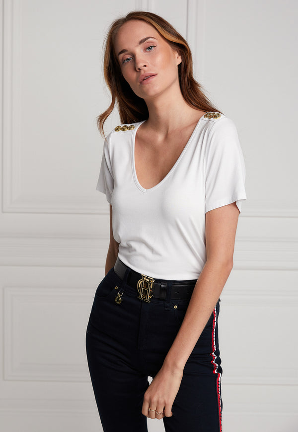 Holland Cooper - Relaxed Fit V Neck Tee - White - angel-divine