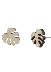 Birch Monstera Earring