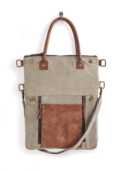 Fold Over Up-Cycled Canvas Convertible Tote - Stone