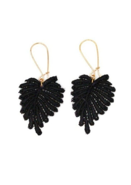 Palm Hoop Earrings - Black