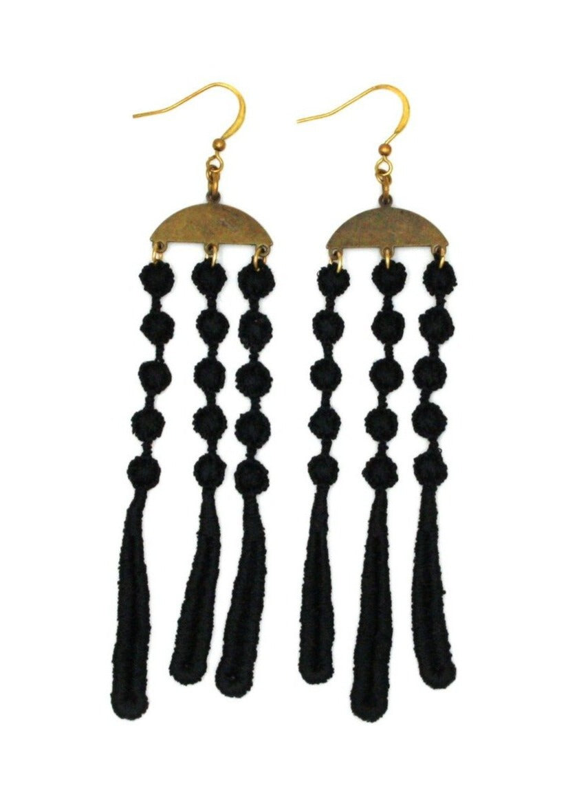 Waterfall Earrings - Black