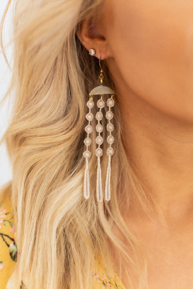 Waterfall Earrings - Beige