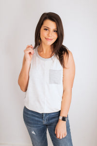 Samantha ColorBlock Grey Tank
