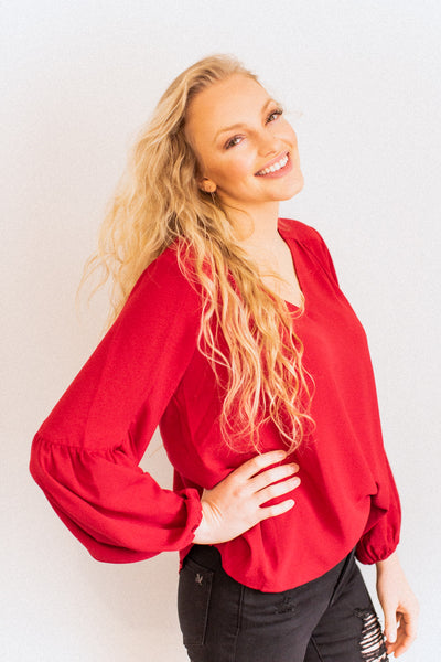 Evening Red Balloon Blouse