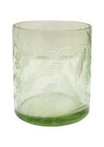 Green Etched Glass Votive