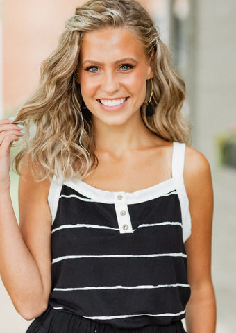 Crissa Black Stripe Tank