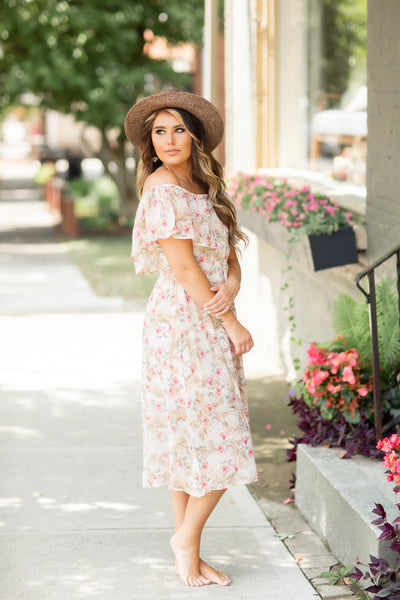 Eva Cream Floral Dress