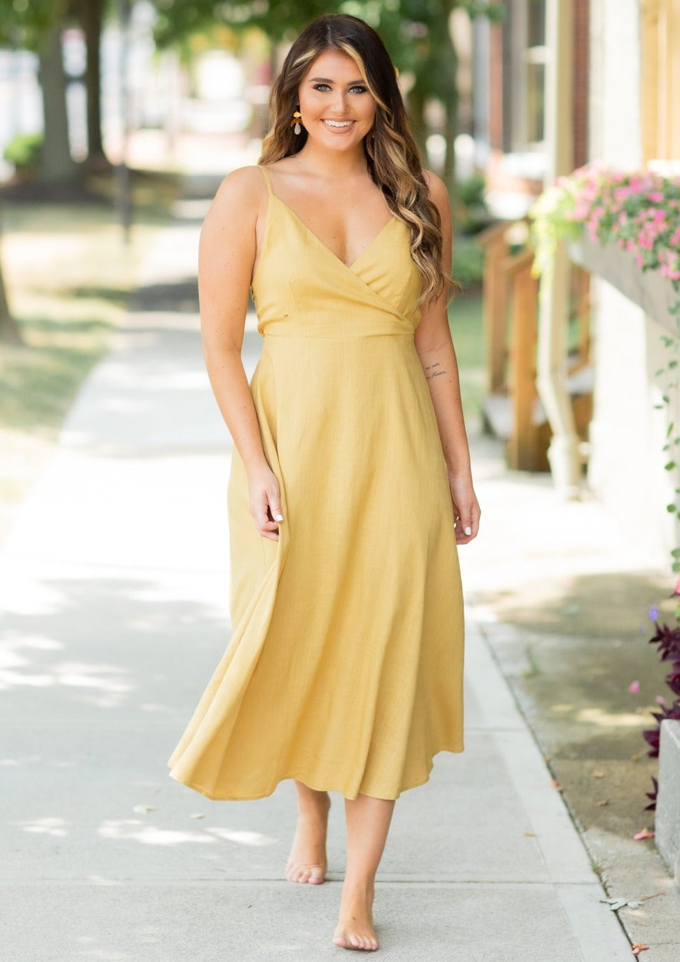 Esther Mustard Linen Midi Dress