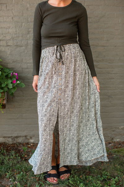 Penny Pattern Button Skirt