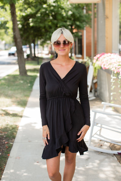 Wendy Black Ruffle Midi Dress